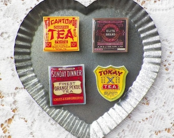 Colorful Vintage Images Old Tea Labels Magnets for Home Decor, Office, Kitchen English / Chinese for Tea Lover / Drinker / Tea Party Favors