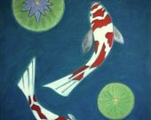 Red Flying Koi Fish Art Zen Koi Fish Painting Waterlily Pad 18x24 Teal Blue White Koi Pond and  Painting By Will Wieber