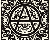 A little anarchy. Linocut print