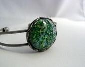 Vintage Emerald Green Fire Opal Cuff Bracelet Antique Silver Platinum Finish