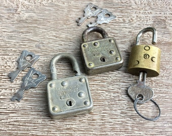 Vintage Locks Lot with Keys Pad Lock Master Lock Slaymaker Locks