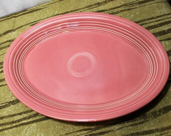 Vintage FIESTAWARE Homer Laughlin Post-86 Rose Oval Chop Plate Platter 13.5 Inch