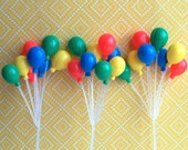 "3 Balloon Clusters Cake Picks 7"" Primary Colors"
