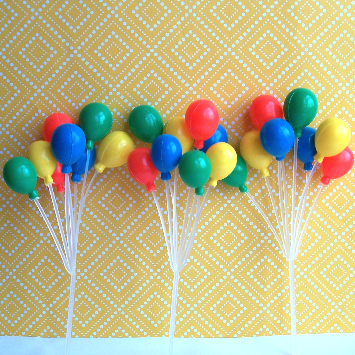 3 Balloon Clusters Cake Picks 7 Primary Colors