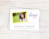 Colorful Confetti Children's Birthday Party Photo Invitation