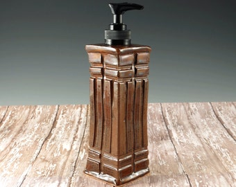 Ceramic Pottery Soap Dispenser - Hand Soap Dispenser - Craftsman Mission Style Pottery - Golden Brown - 850