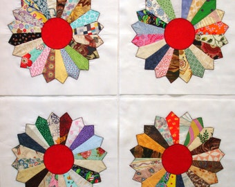 Handmade Dresden Plates Appliqued Quilt Blocks
