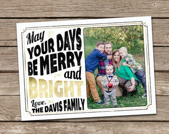 Photo Christmas Card : Faux Gold Foil Have Yourself a Merry Little Christmas Typography Custom Photo Holiday Card Printable