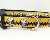 Dog Collar, Snoopy Chevron, 1 inch wide, adjustable, quick release, metal buckle, chain, martingale, hybrid, nylon