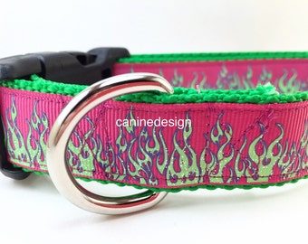 Dog Collar, Fuschia Flames, 1 inch wide, adjustable, quick release buckle, metal buckle, chain, martingale, hybrid, heavy nylon, red, yellow