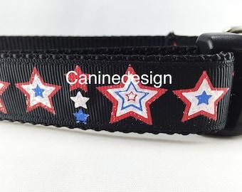 Dog Collar, Black Stars, 1 inch wide, adjustable, quick release, metal buckle, chain, martingale, hybrid, nylon, american, patriotic