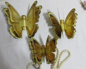 Wall Hanging Butterfly Metal Set of 3 Gold Tone Double Wing