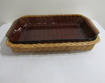 Fire King Amber Baking Casserole Dish with Wicker Holder