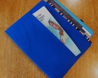 Blue Tract and Magazine Holder, Organizer, Tablet Sleeve