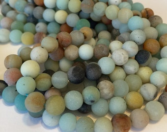 Amazonite MATTE 8mm round beads whole strand