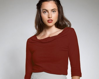 Fashion Favourite / Plus Size / Plus Size Fashion / Go to Top / Rust / Oxblood / Cowl Neck Top / Work Clothes / Office Fashion / Classic