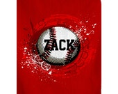 Personalized Red Baseball Plush Fleece Blanket - Shown in Red color - Available any color -  SALE PRICING