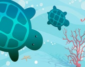 Sea Turtles Plush Fuzzy Area Rug -  Color Combo Teal green -Size 48x30, 60x48, 96x44-Add your Monogram