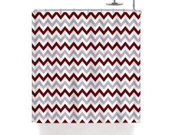 Custom Colors Shower Curtain -Chevron  or Stripes Maroon-Silver-white