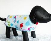 Fleece Dog Jacket, Large Dog Coat, Nautical Dog Coat, Shih Tzu jacket, Dog's warm winter coat with sea creatures pattern