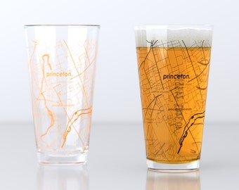 Princeton, NJ - Princeton University - College Town Pint Map Glasses