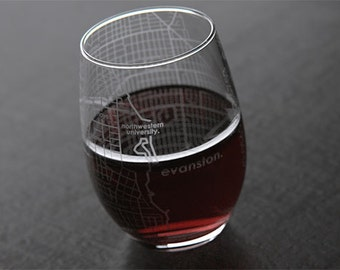 Evanston - Northwestern University - College Town Map Stemless Wine Glass