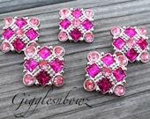 Sale Rhinestone Buttons- 5pc Shocking Pink/Pink Rhinestone Buttons- 21mm Headband Supplies-Diy Supplies- Sewing Button- Diy Baby Headband