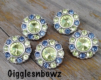 Sale Rhinestone Buttons- 5 Pc Yellow/Blue TWO TONE Acrylic Rhinestone Buttons 18mm Flower Centers, Diy Headband and Hairbow Supplies