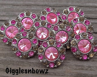 Sale! 10pc RHiNeSToNe BuTToNS 15mm -Bright Pink with Brown/Shocking Pink Acrylic Rhinestone Buttons, Diy Headband and Hair bow Supplies