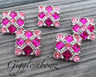 Sale Rhinestone Buttons- 5pc Shocking Pink/Pink Rhinestone Buttons- 21mm Headband Supplies-Diy Supplies- Sewing Button- Diy Baby Headband