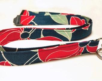 Fabric Lanyard, ID Badge Lanyard, Key Lanyard,  Stylish Navy, Red and Sage,  Breakaway Lanyard,  Women's Gift Idea, Teacher Gift