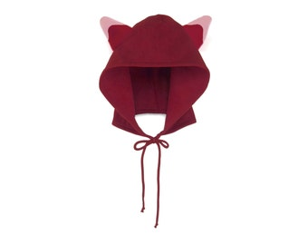 Red Panda Hoodie Hat - Fleece Tie Hooded Hat with Ears in Cardinal and White - Unisex Adult & Kids Sizes