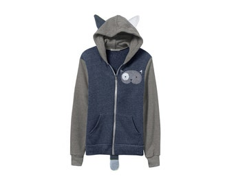 Geo Cat Hoodie - Fleece Hooded Zip Sweatshirt with Ears and Tail in Heather Grey and Navy Colorblock - Unisex Size S-2XL