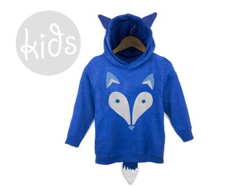 Geo Arctic Fox Hoodie - Pullover Fleece Hooded Long Sleeve Sweatshirt with Ears and Tail in Heather Royal Blue - Baby & Toddler