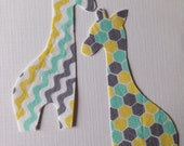2 Small Diy Fabric Iron On Applique Giraffes
