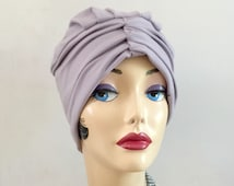 Trendy Turban, Chemotherapy Hat, Hats for Hair Loss, Cotton Jersey Turban, Soft Chemo Cloche, Lilac Cloche, Flapper Style, Handmade in USA