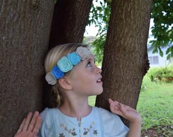 Blue gray ombre felt flower crown headband
