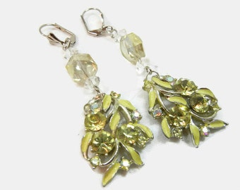 Upcycled Rhinestone Earrings / Handmade with pale yellow beads and Vintage Rhinestone earrings / Dangle earrings / Lemon / birthday gift