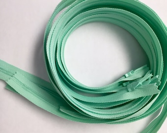 30 Inch Light mint conceal zippers, Five pcs - great for garments and pillow cases, YKK color 871