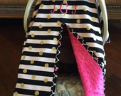 Super Cute Baby Car Seat Covers - Black Stripe - Gold Dot with Hot Pink Minky - Bows Incl - Baby Girl - Shower Gift