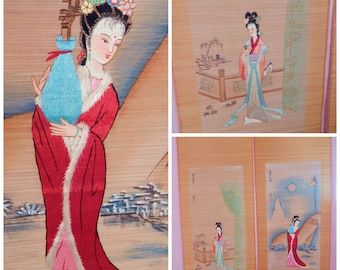 Japanese Wall Panels, Silk embroidery ,mid century decor, asian decoration, match stick curtains, geisha decor