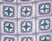 Beautiful Crochet Granny Square Blanket in Soft Sage, White and Lilac, Wheelchair Blanket, Throw Blanket, Lap Blanket, Free US Shipping