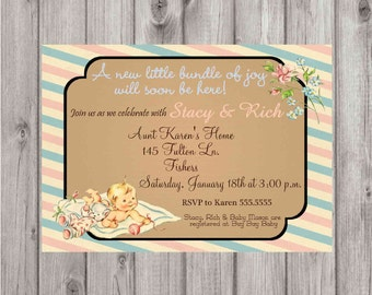 Digital Vintage Baby Shower Party Invitation Printable