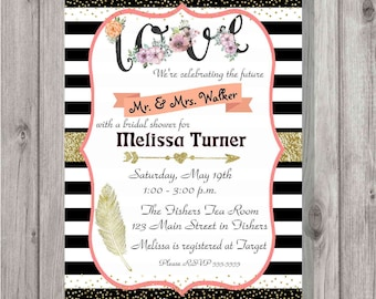Digital Gold Glitter Floral Love Bridal Shower Party Invitation Printable