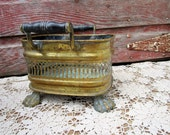 Vintage Brass planter Wood Handles Large Lion Claw feet Green old patina