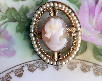 Vintage  Shell Cameo  Brooch 12K gold filled with pearls