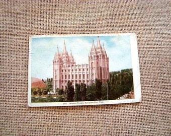 Antique Postcard Mormon Temple circa 1915 Salt Lake One Cent Stamp