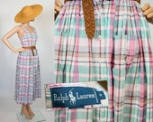 Vintage 80s 90s Ralph Lauren / Country Farmhouse / Pastel Madras Cotton Sun Dress Summer Plaid / 1990s / 1980s Pinafore Jumper / Extra Small