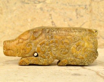 Vintage Jade Pig Nephrite Figurine Statue