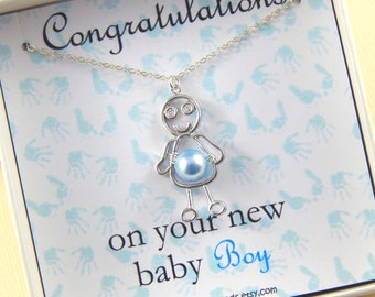 Baby Boy Gift Boxed Necklace New Mother Gift Baby Shower Gift Christening Gift